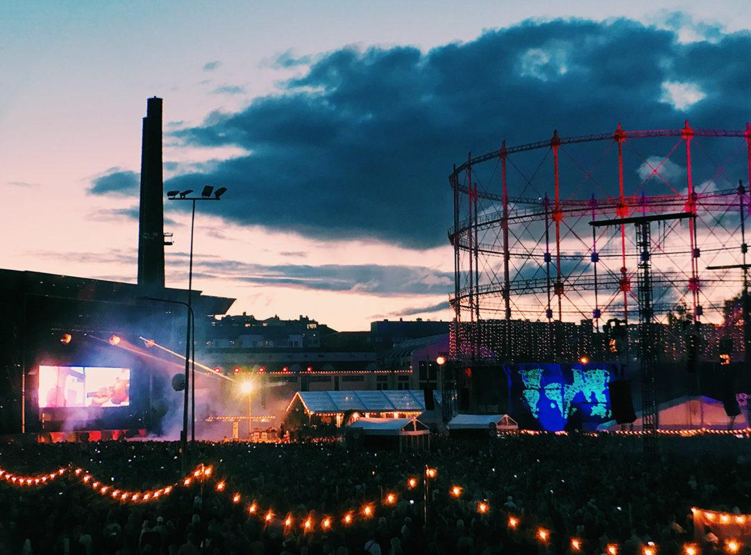 Flow festival in the dim evening light
