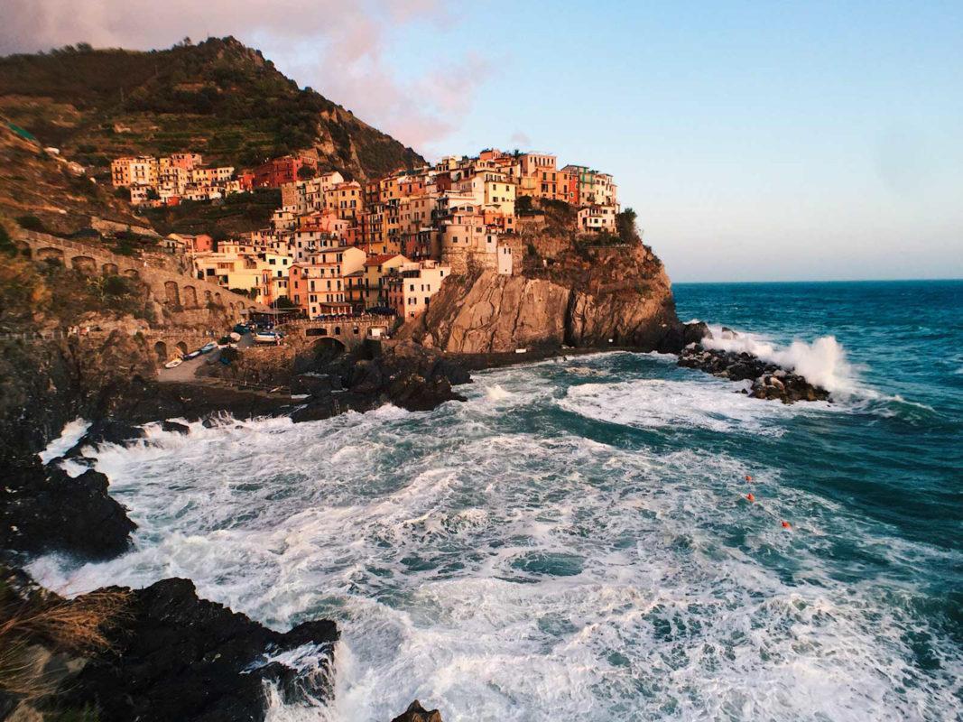 Levanto of Cinque Terre int he soft evening light